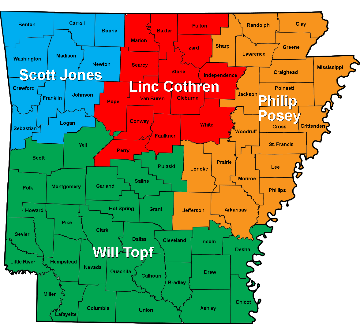 Arkansas sales territories map