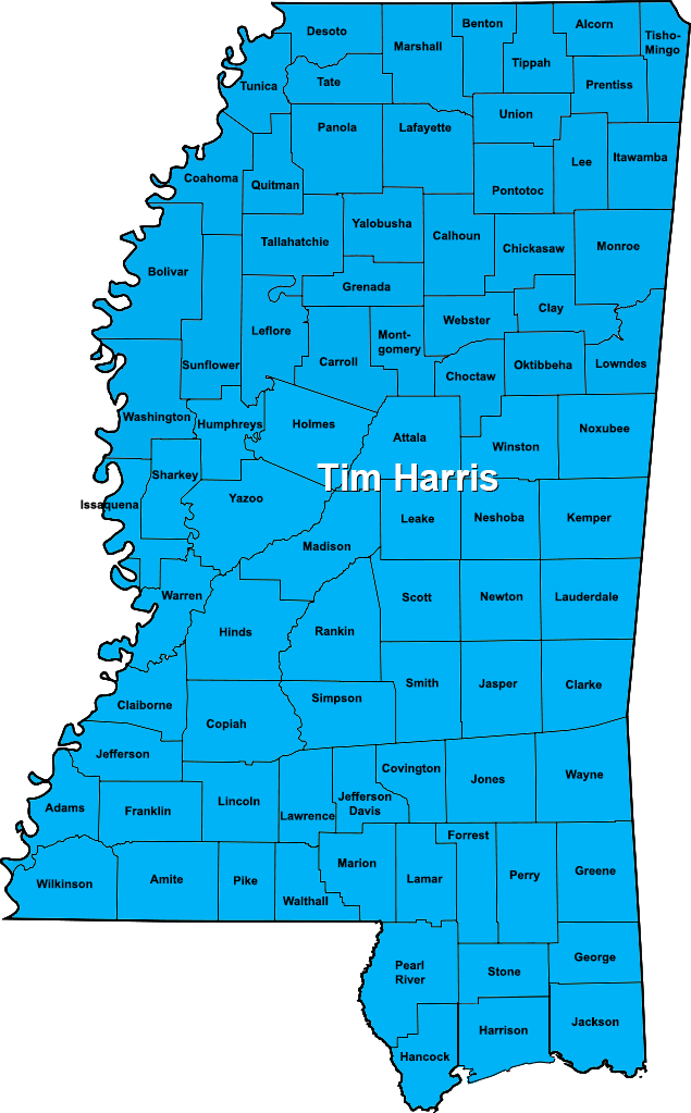 Mississippi territories sales map